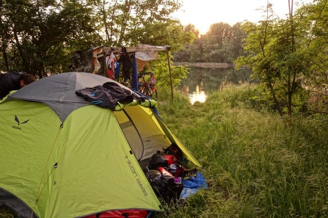 Unser Zeltplatz am ersten Tag nach Abfahrt