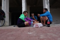 Kurze Pause während unseres 125km Tages