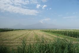 Im Dunst erkennt man den Ararat der höchste Berg der Türkei