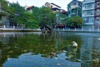 In diesem kleinen See liegenFrackteile eines B52 Bombers aus dem Vietnam Krieg